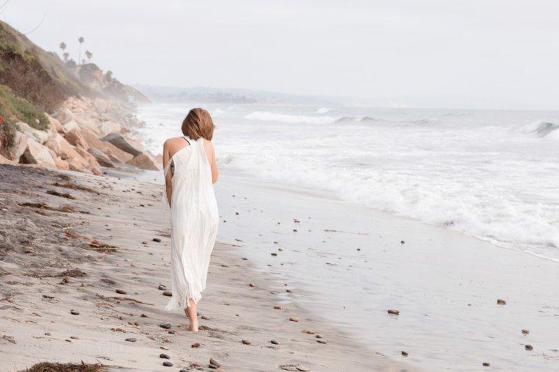 Girl walking on the beach - Encinitas Beach Photography