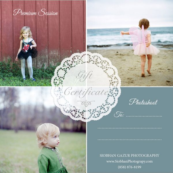 Digital Photography Gift Certificate Premium Session