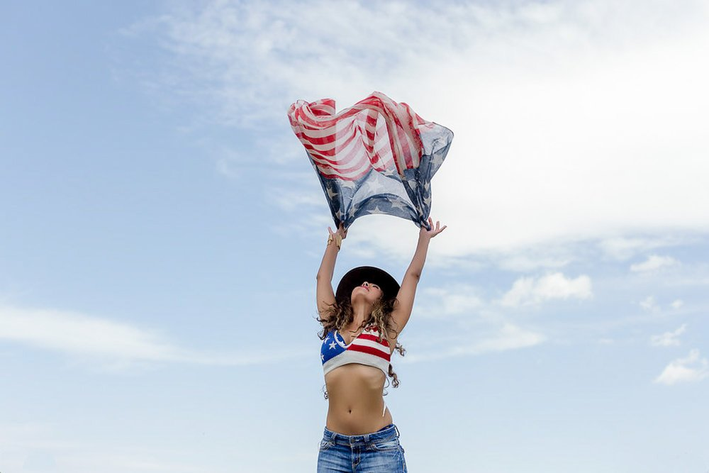 San Diego Model Portfolio - Girl with a flag